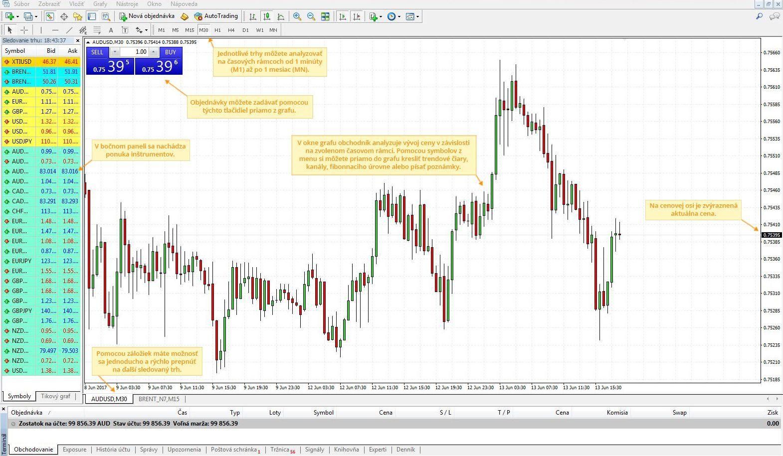 Analyticky software - zobrazenie trhu AUD/USD v software MetaTrader 4