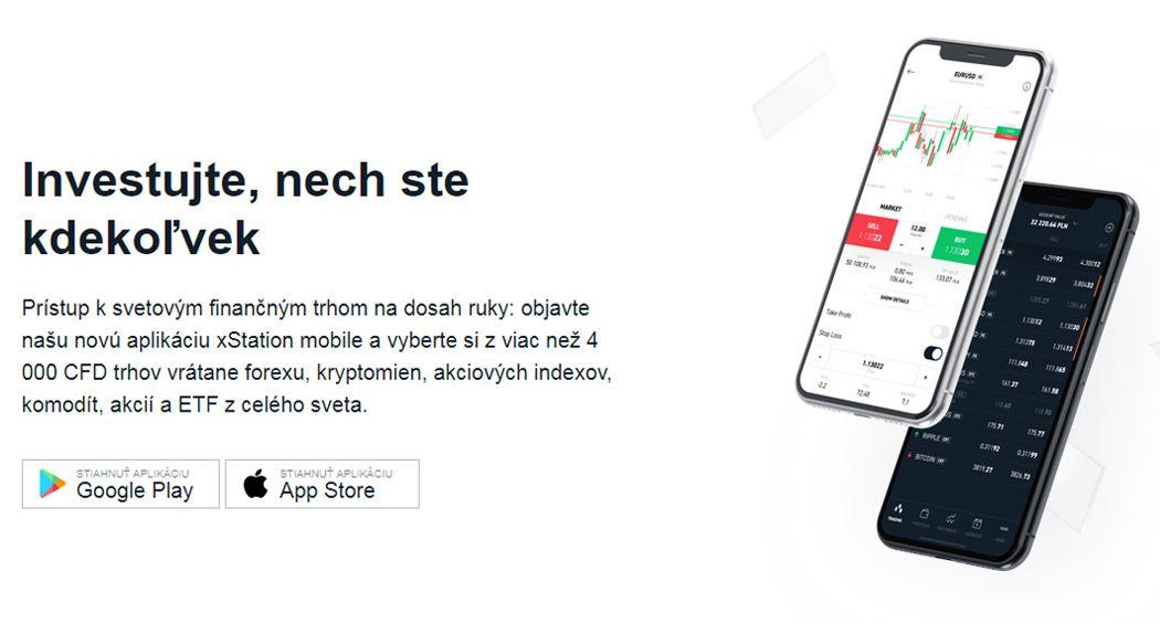 xstation mobile obchodná platforma X-Trade Brokers demo a poplatky