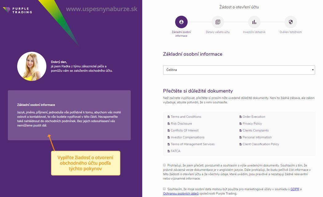 Postup pri registrácií účtu pre kopírovanie obchodníkov v purple