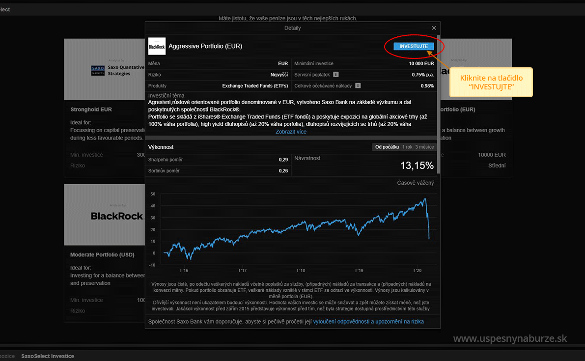 Kliknite na tlačidlo investujte